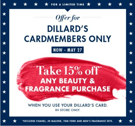Take 15% Off Any Beauty & Fragrance Purchase from Dillard's
