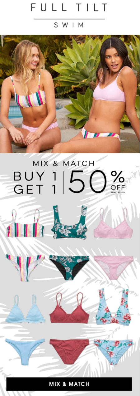 Swim Mix & Match BOGO 50% Off from Tillys