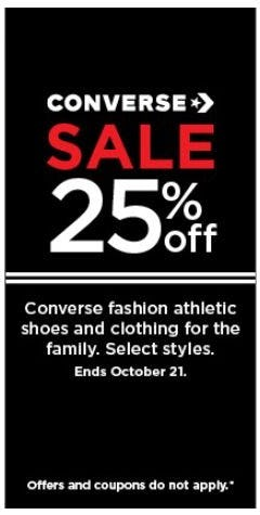 Converse Sale 25% Off from Kohl's