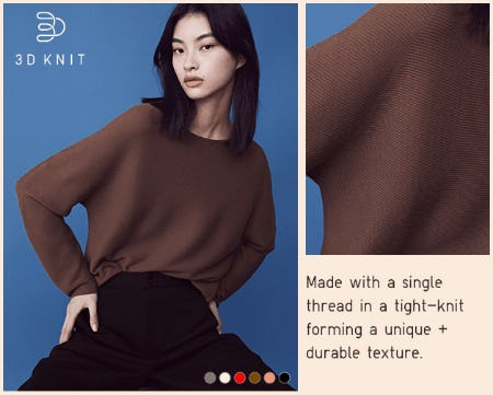 Women 3D Cotton Volume-Sleeve Sweater from Uniqlo