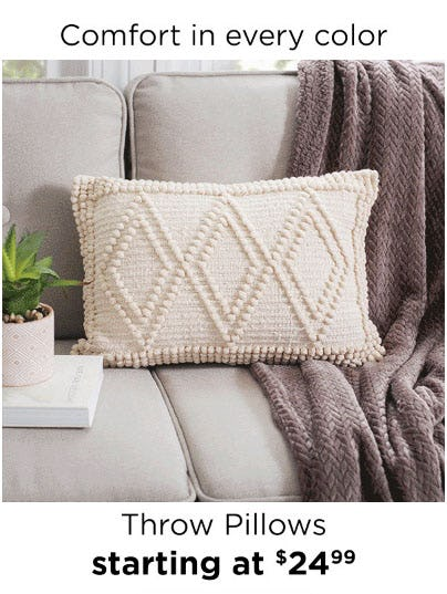 Throw Pillows Starting at $24.99
