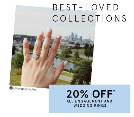 20% Off All Engagement and Wedding Rings from Kay Jewelers