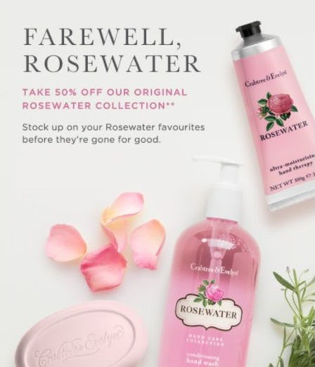 50% Off Our Original Rosewater Collection