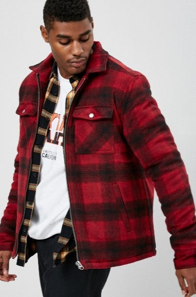 Padded Plaid Flannel Jacket