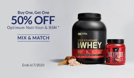 BOGO 50% Off Optimum Nutrition & BSN from The Vitamin Shoppe