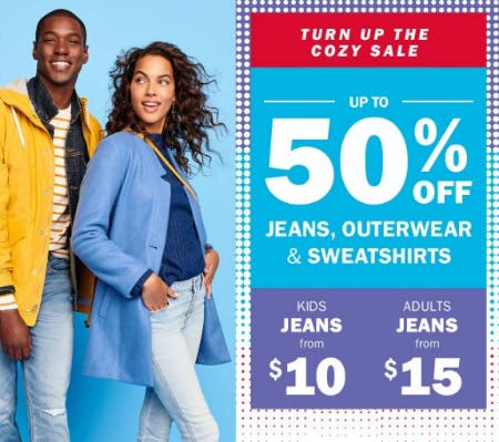 Up to 50% Off Jeans, Outerwear & Sweatshirts from Old Navy