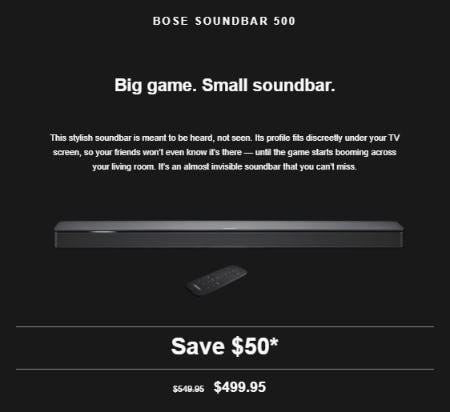 $50 Off the Bose Soundbar 500 from Bose