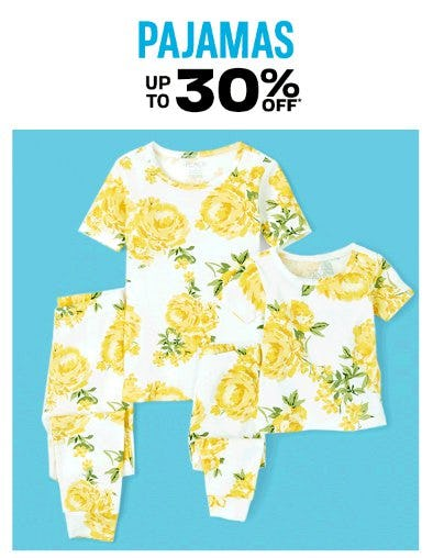 Pajamas up to 30% Off
