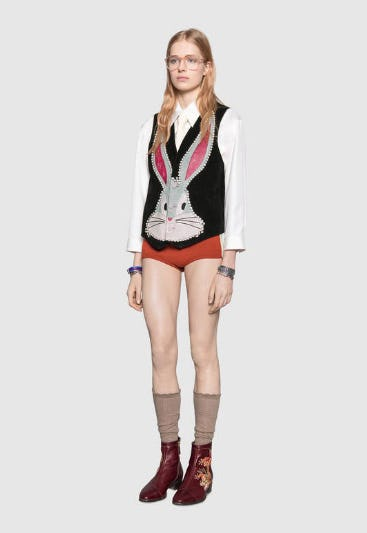 Bugs Bunny Suede Vest with Patches from Gucci