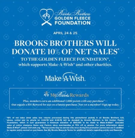 Brooks Brothers Will Donate 10% of Net Sales from Brooks Brothers