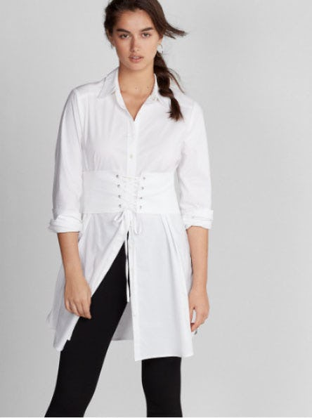 Corset Waist Shirt Dress