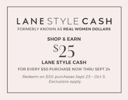 Shop & Earn $25 Lane Style Cash from Lane Bryant
