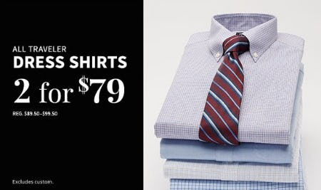 All Traveler Dress Shirts 2 for $79 from Jos. A. Bank