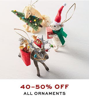 40-50% Off All Ornaments from Pottery Barn