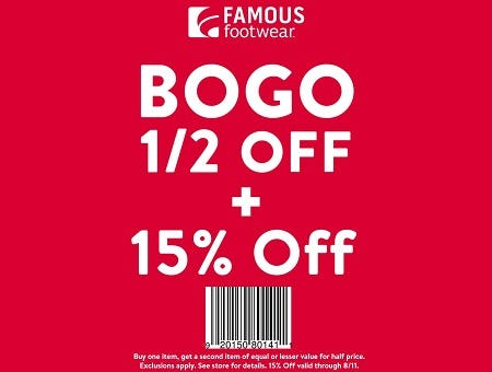 Famous Footwear 15% Off Purchase Back to School Offer