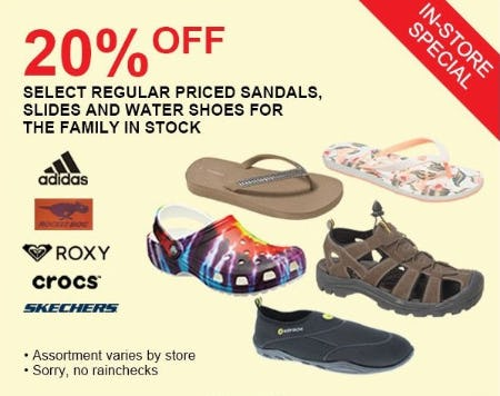 20% Off Select Regular Priced Sandals, Slides and Water Shoes for the Family