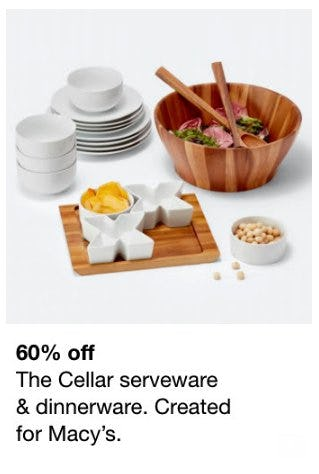60% Off The Cellar Serveware & Dinnerware