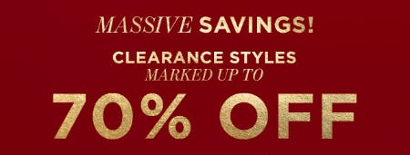Clearance Styles: Up to 70% Off