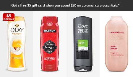 $5 gift Card with $20 Personal Care Essentials Purchase from Target