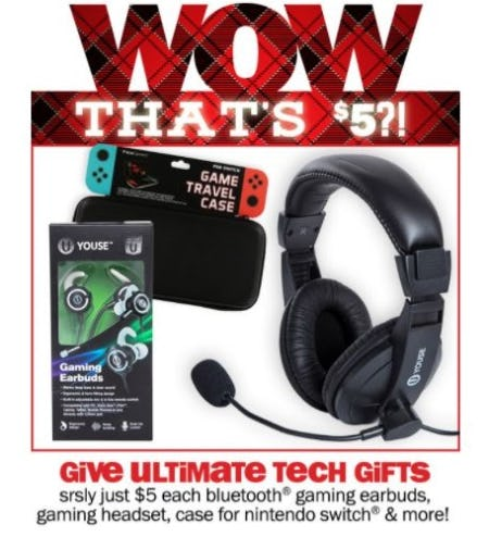 $5 Each Bluetooth Gaming Earbuds, Gaming Headset, Case for Nintendo Switch & More from Five Below