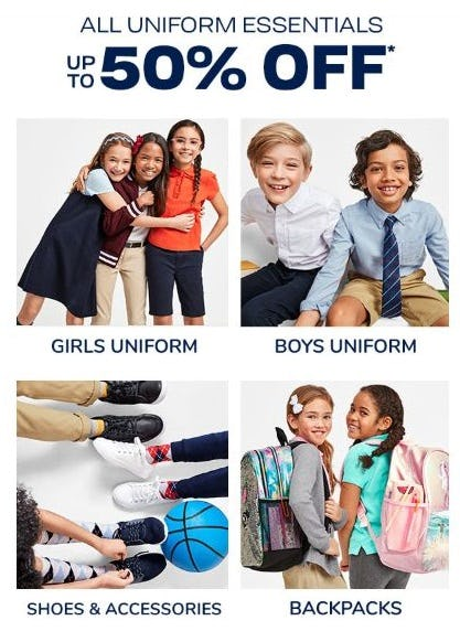 Up to 50% Off All Uniform Essentials from The Children's Place
