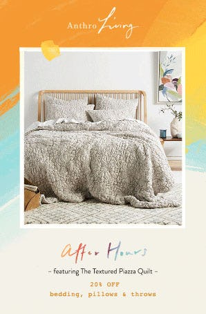 20% Off Bedding, Pillows & Throws from Anthropologie