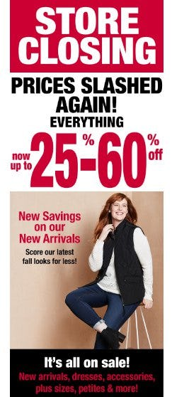 Store Closing Sale 25-60% Off Everything