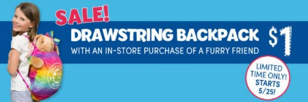$1 Drawstring Backpack with Purchase from Build-A-Bear Workshop