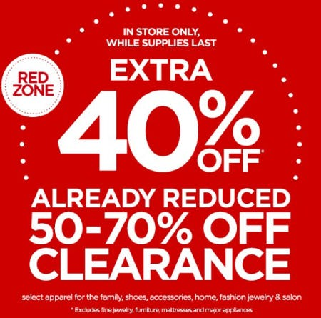 Extra 40% Off Already Reduced 50-70% Off Clearance from JCPenney