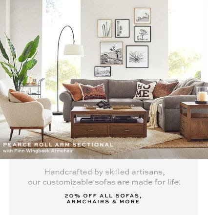 20% Off All Sofas, Armchairs & More from Pottery Barn