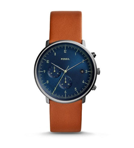 Chase Timer Chronograph Luggage Leather Watch from Fossil