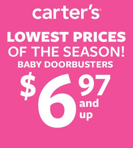 Baby Doorbusters $6.97 and Up from Carter's