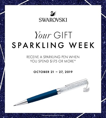 Free Sparkling Pen with purchase of $175 or more from Swarovski