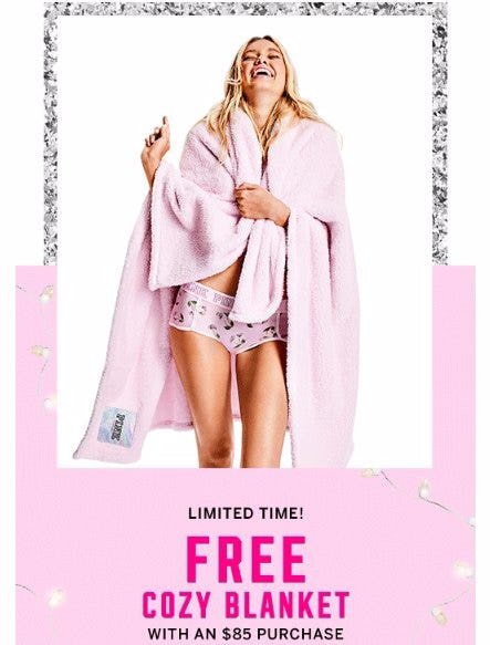 Free Cozy Blanket With an $85 Purchase