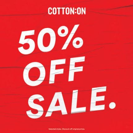 50% Off Sale from Cotton On