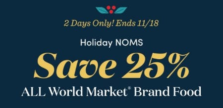 25% Off All World Market Brand Food from Cost Plus World Market