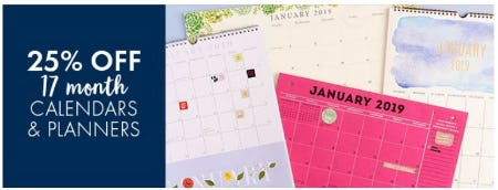 25% Off 17th Month Calendars & Planners from Paper Source