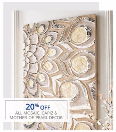 20 Off All Mosaic Capiz Mother Of Pearl Decor