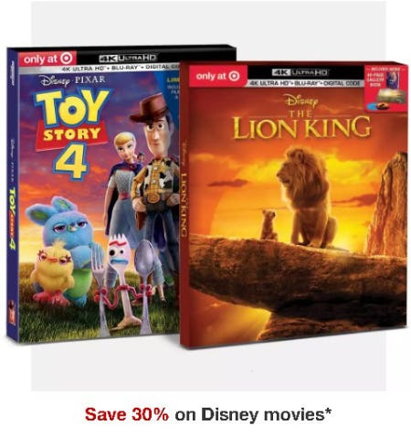 Save 30% on Disney Movies from Target