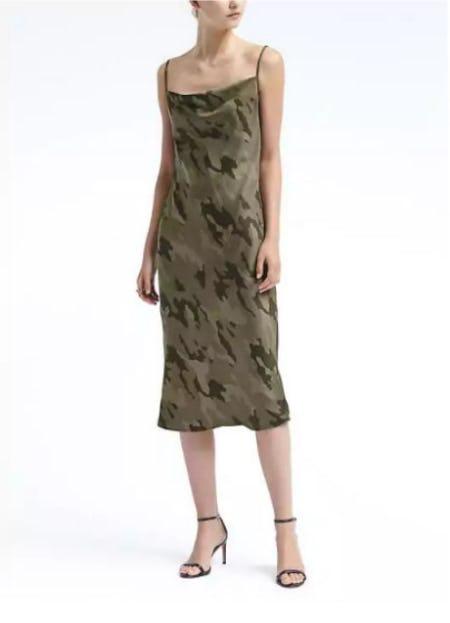 Strappy Camo-Print Slip Dress