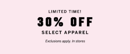 30% Off Select Apparel