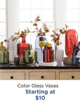 Color Glass Vases Starting at $10 from Kirkland's