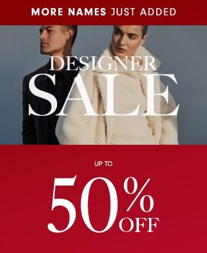 Designer Sale up to 50% Off