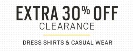 Extra 30% Off Clearance Dress Shirts & Casual Wear from Men's Wearhouse and Tux