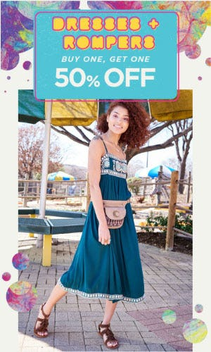 BOGO 50% Off Dresses & Rompers from Earthbound Trading Company