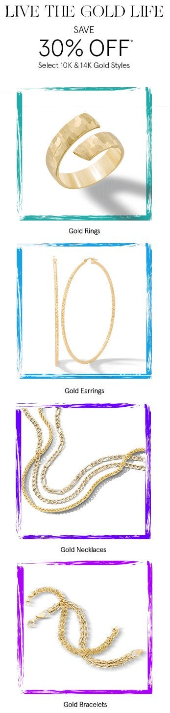 Save 30% Off Select 10K & 14K Gold Styles from Zales