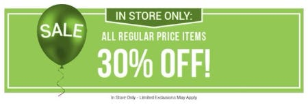 30% Off All Regular Price Items from Bon Worth