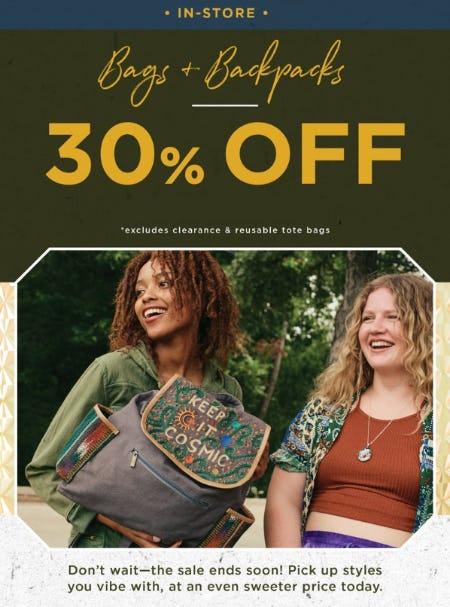 30% Off Bags & Backpacks