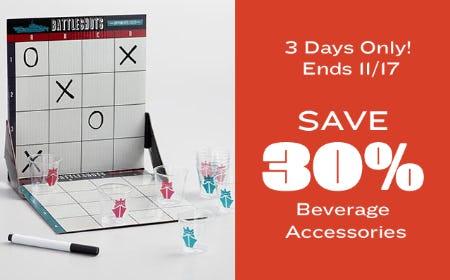 Save 30% on Beverage Accessories