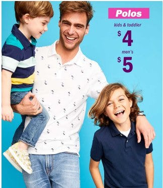$5 Men's and $4 Kids and Toddler Polos from Old Navy